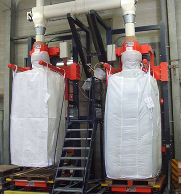 Remplissage-bigbag-vibration-densification-plastique-recyclé-pesage-passerelle-opérateur-Mecabag