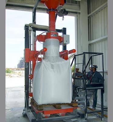 Remplissage-bigbag-déplaçable-poste-mobile-vibration-pesage-joint-gonflable-Mecabag