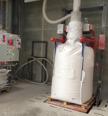 Remplissage-bigbag-talc-vibration-pesage-dépoussiérage-joint-gonflable-poudre-Mecabag