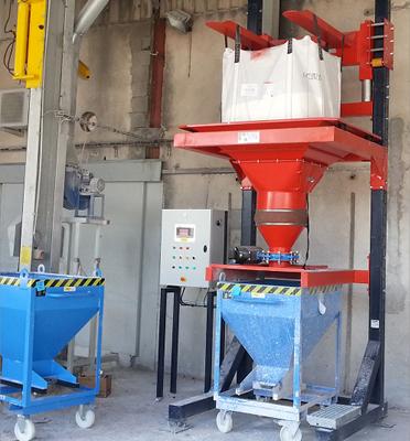Soutirage-bigbag-conteneur-à-roulettes-dosage-dépesage-vibration-plâtre-Mecabag